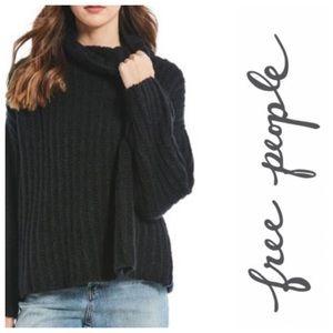 New!  Free People Fluffy Fox black sweater